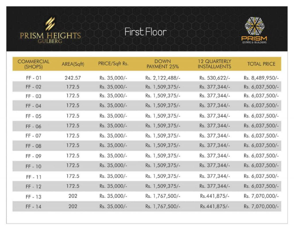 Prism heights gulberg First floor plan 01