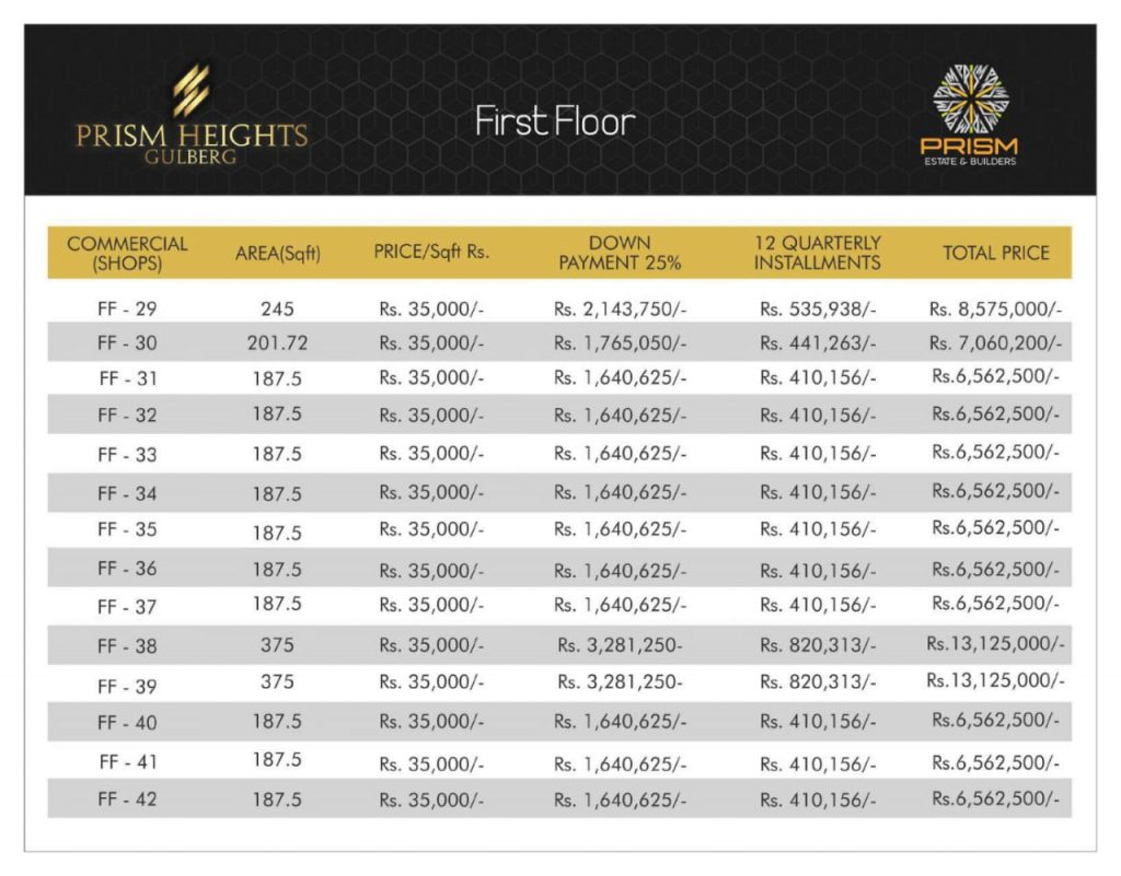 Prism heights gulberg First floor plan 03
