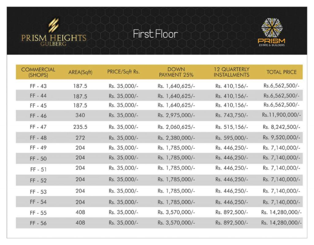 Prism heights gulberg First floor plan 04