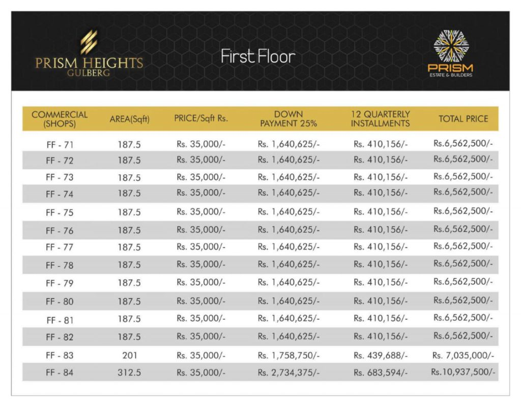 Prism heights gulberg First floor plan 06