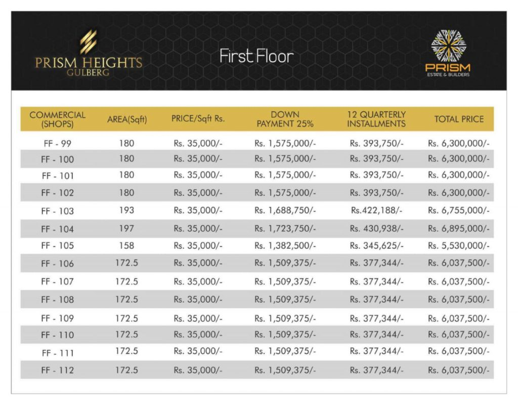 Prism heights gulberg First floor plan 08