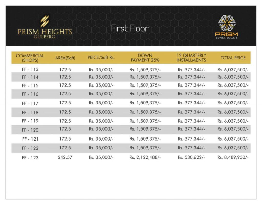 Prism heights gulberg First floor plan 09