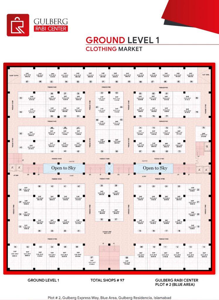 Floor Plan Ground Level 1 – Clothing Market