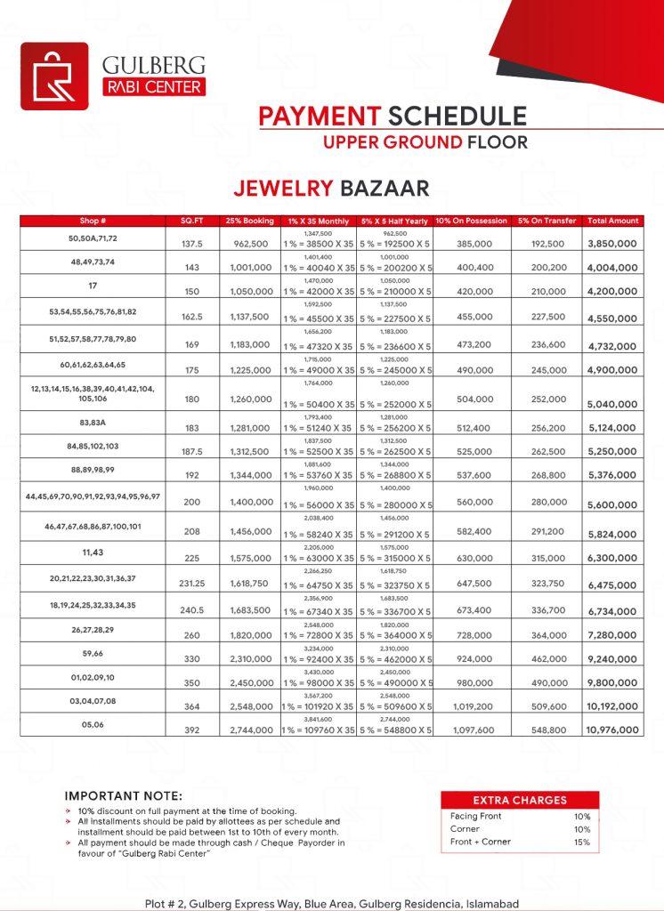Payment Schedule Upper Ground Floor - Jewelry Bazaar