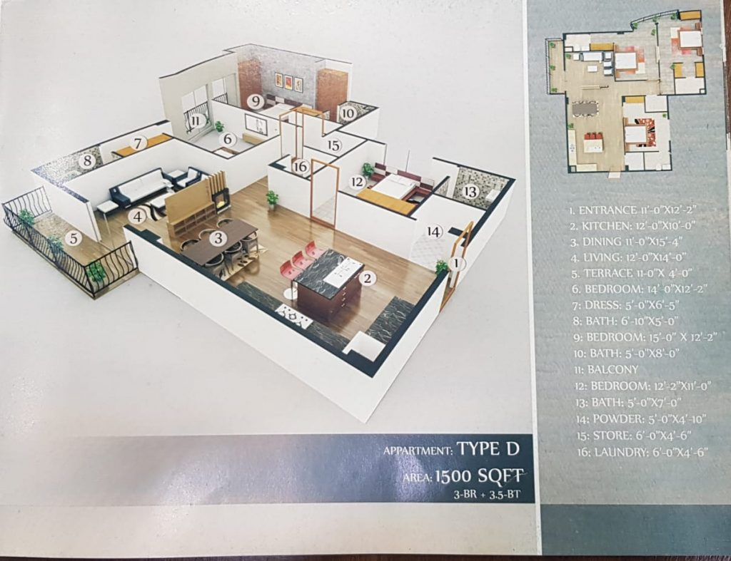1500 Sq.ft Apartment in Gulberg Greens Floor Plan