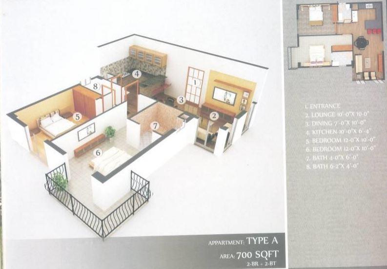 Dream Heights 700 Sq.Ft Floor Plan
