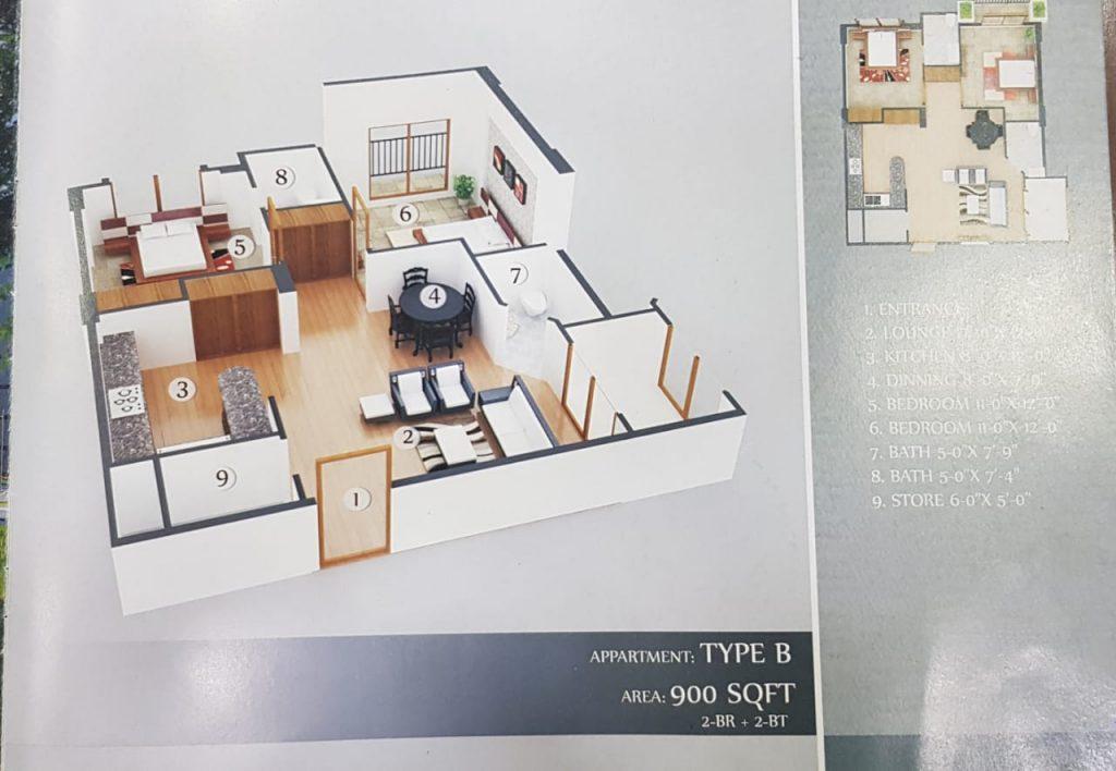 900 Sq.ft Apartment Floor Plan