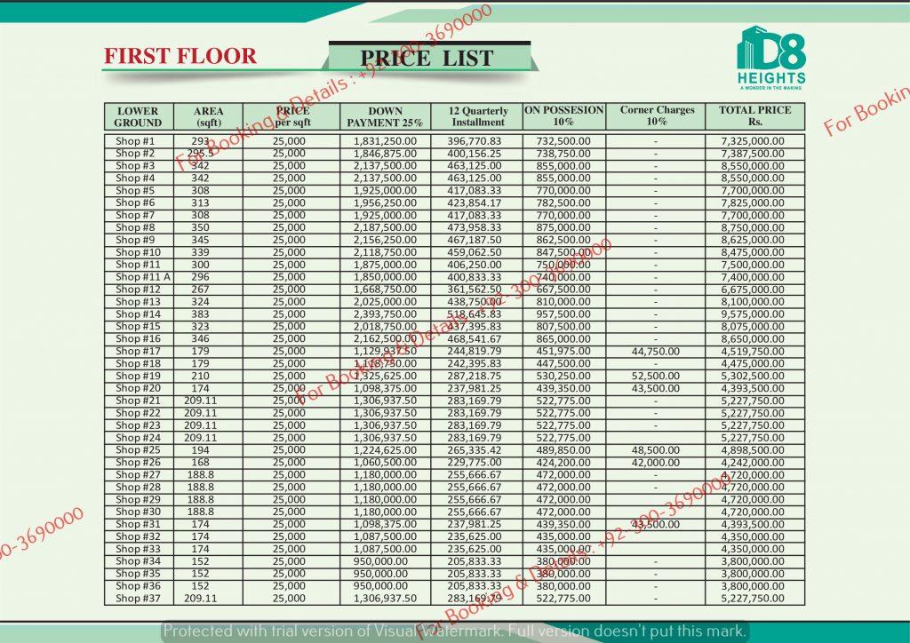 D 8 Heights Gulberg First Floor Payment Plan