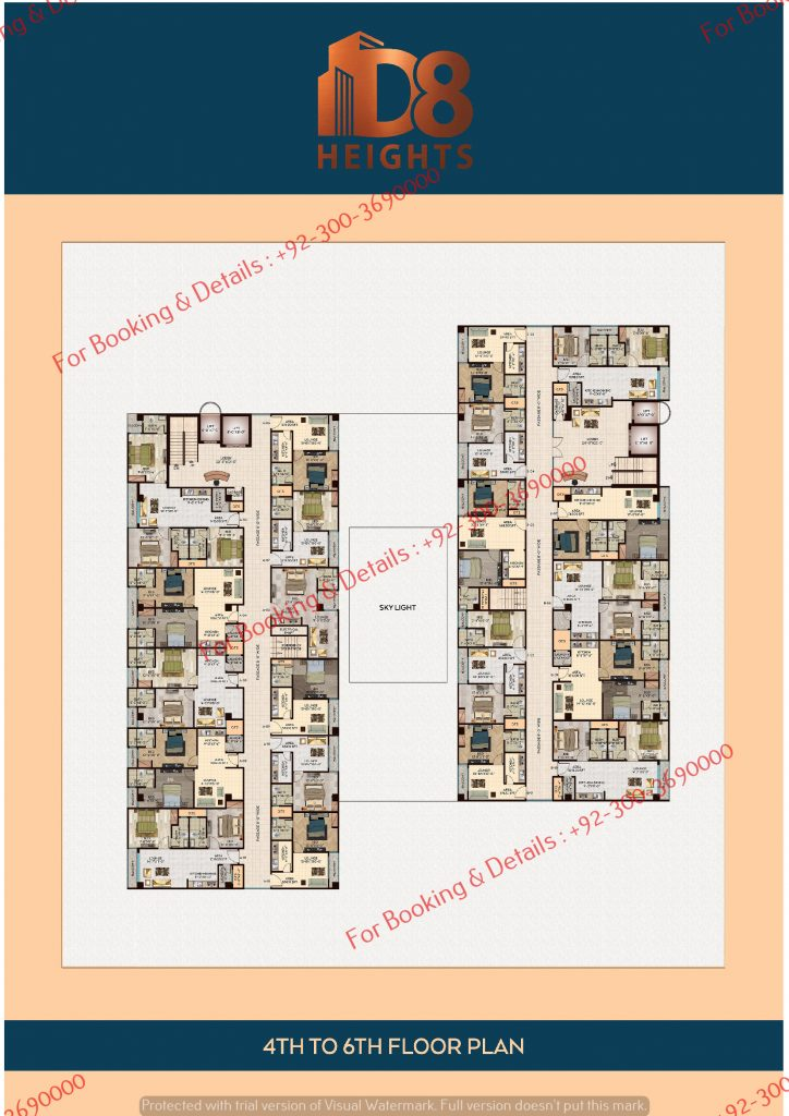 D 8 Heights Gulbarg 4th to 6th floor plan