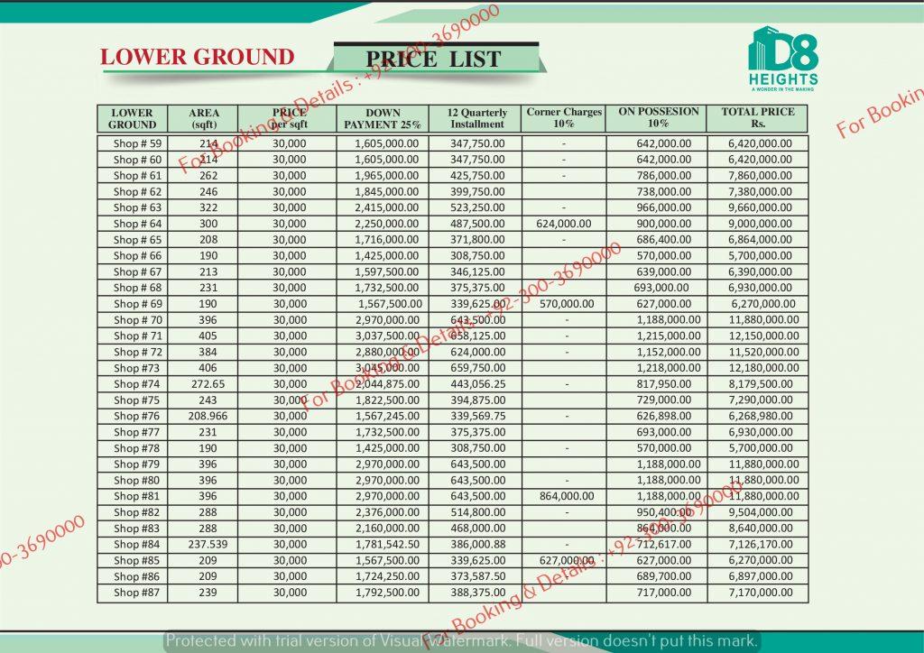 D 8 Heights Gulberg Lower Ground Floor Payment Plan