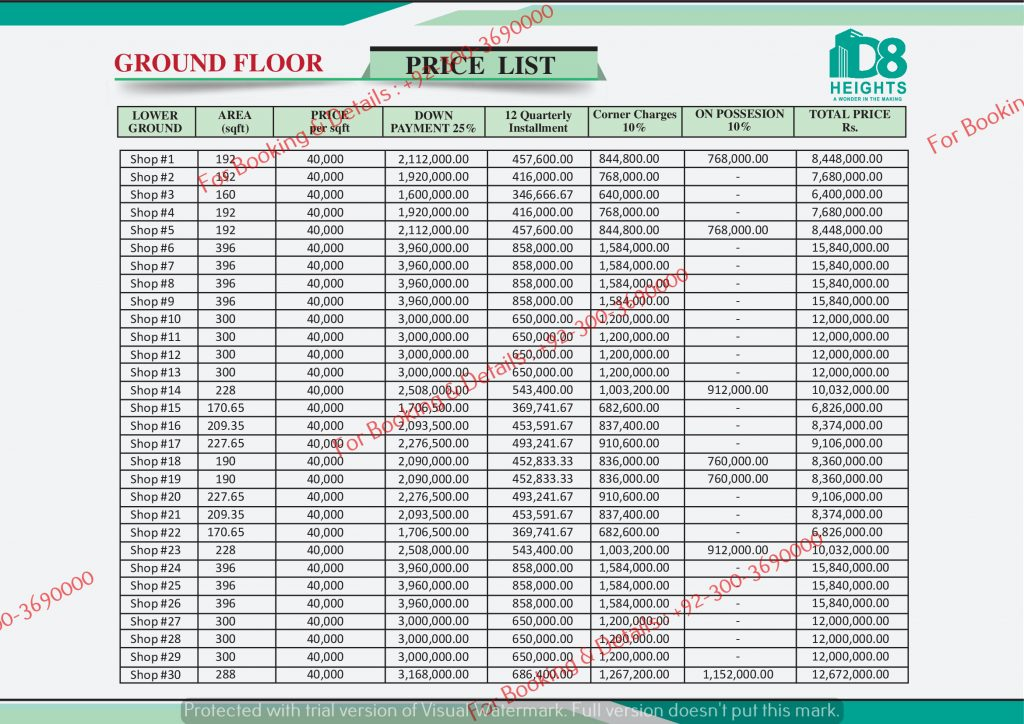 D 8 Heights Gulberg Ground Floor Payment Plan