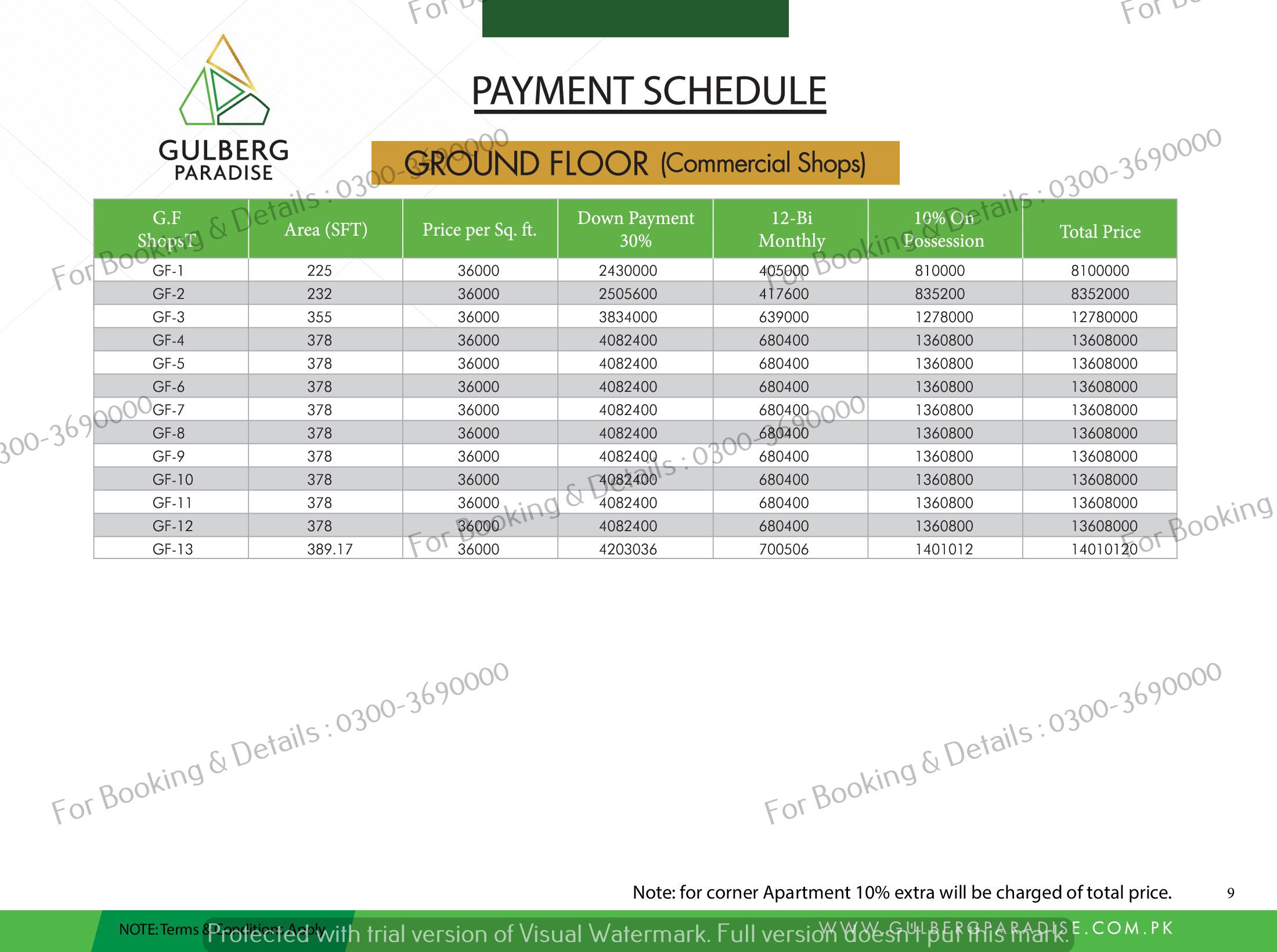 GF floor plan payment plan