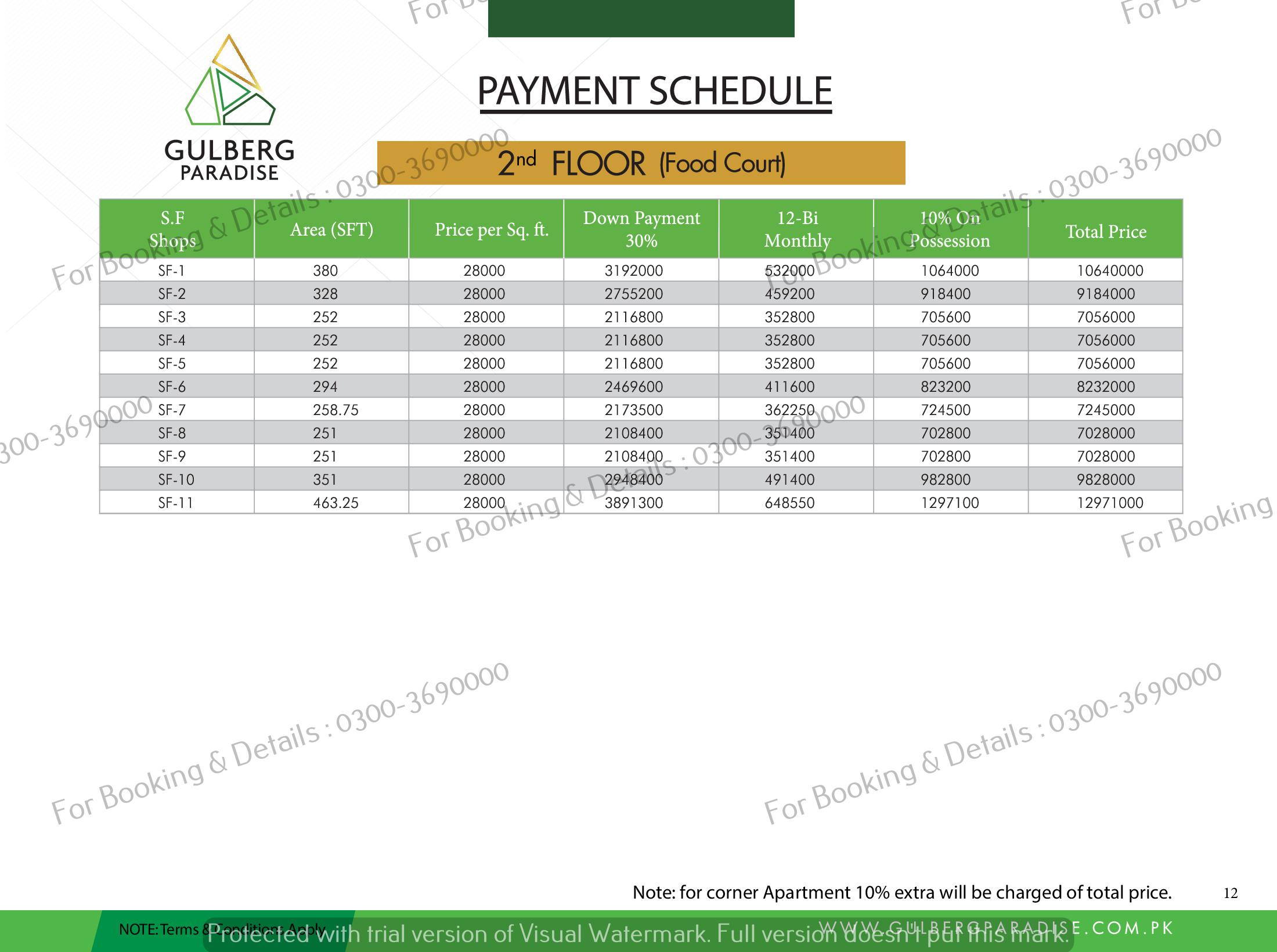 2nd floor payment plan gulberg